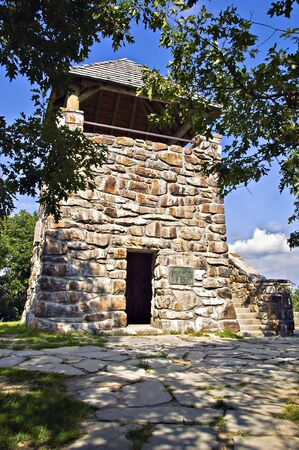 An old stone tower lookout area on top of Wayah Bald in North Carolina. It was used in the early 1900 Stock Photo - 10515754