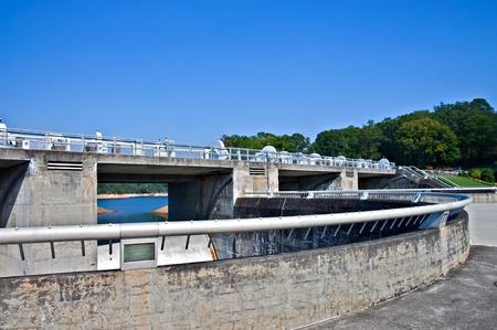 energy work: A bridge and walkway at Fontana Dam in North Carolina.