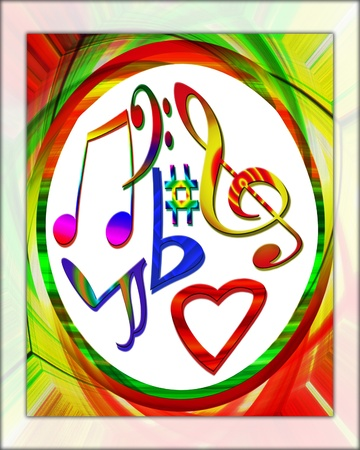 A colorful design with musical symbols, concept of loving music.