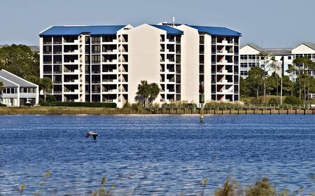 panama city beach: Condos lined along the shore of the ocean in Panama City Beach, Florida. Editorial