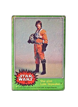 ルーク: アメリカ合衆国 - 20 世紀フォックス映画株式会社年頃 1977年、1977 年からの元のスター ・ ウォーズ トレーディング カード ルーク ・ スカイウォーカーをフィーチャーします。 報道画像