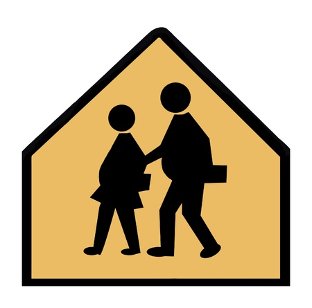 A school crossing sign showing overweight children.