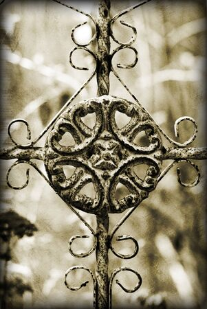 Details of wrought iron with a grunge treatment and border