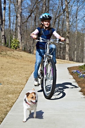 A preteen aged girl riding her bike with her Jack Russell Terrier in front. Stock Photo - 13029863