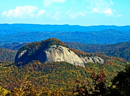 Autumn colors around Looking Glass Mountain from the Blue Ridge Parkway. photo