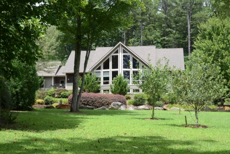 Modern house exterior showing the landscaping