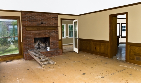 Interior rooms ready to have carpet, tile or hardwood installed. photo