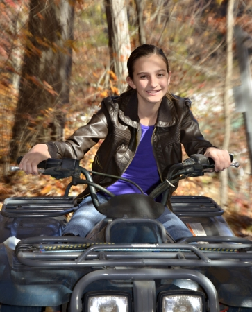 off road vehicle: Preteen Girl on ORV