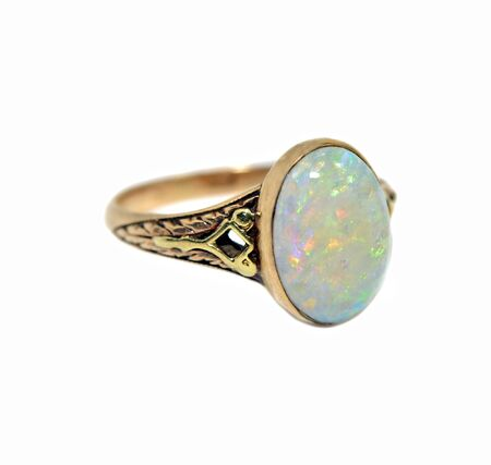 A decorative antique ring with an opal stone  Stock Photo