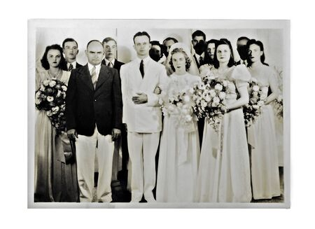 old photograph: A photo from the 1940s showing all the members of the wedding.