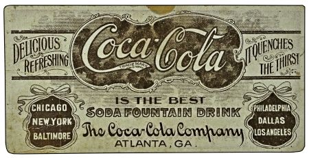 Vintage Coca-Cola ad on a card. Editorial