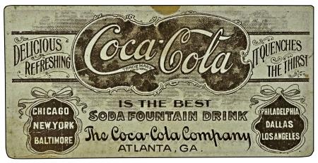 Vintage Coca-Cola ad on a card. Editorial