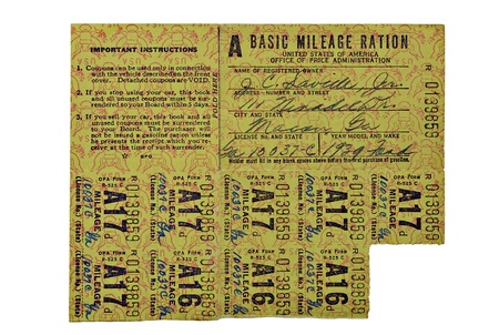 War ration coupons for gas used during the 1930s and 1940s.