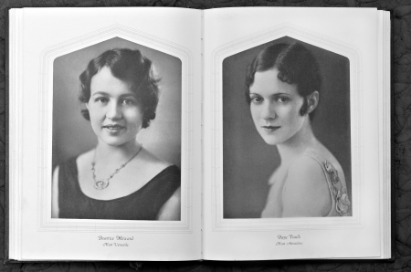 yearbook: Two beautiful women in a vintage yearbook. Editorial