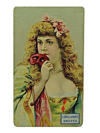tabaco: Una tarjeta utilizada para la publicidad en los a�os 1900. Es un anuncio Tabaco vendimia semitono estilo Lorillard.