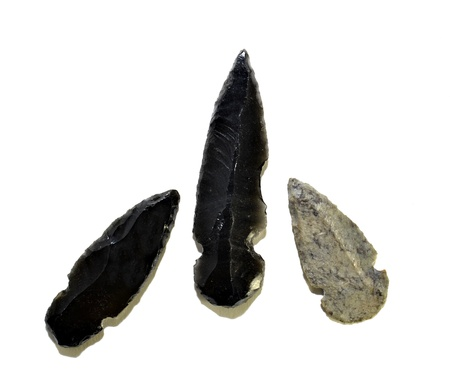 arrowheads: Three native American arrowheads