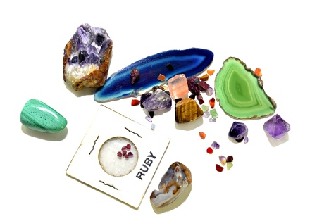 unpolished: An assortment of semi-precious stones, polished and unpolished, that were mined  Stock Photo