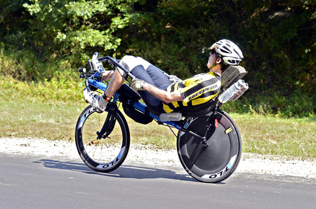 Dahlonega, GA, USA  September 29, 2013  Unidentified man riding in the Three and Six Gap Century ride   Publikacyjne