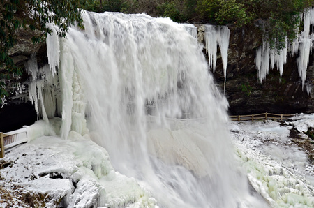 Bridal Veil waterfall frozen in the winter photo