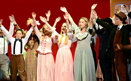 Students in period clothing during a school theater performance of The Music Man   North Forsyth High School, Feb  22, 2014