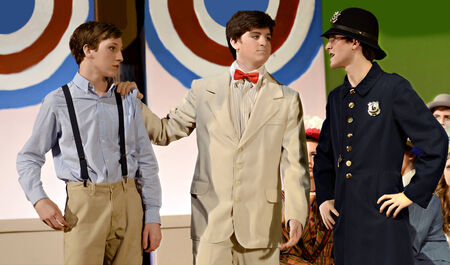 Three boys in period clothing during a school theater performance of The Music Man   North Forsyth High School, Feb  22, 2014