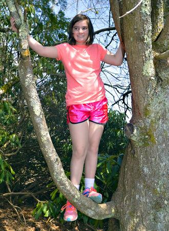 Cute Girl in a Tree 免版税图像