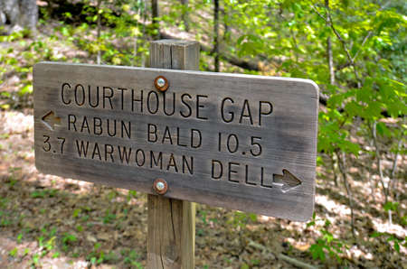 appalachian trail: A sign along the Bartram Trail in the Appalachian Mountains  Stock Photo