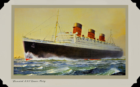 UNITED KINGDOM - CIRCA 1930: A postcard printed in Great Britain dedicated to Ocean Liners, shows RMS Queen Mary circa 1930.  A vintage Postal Card in a scrapbook.  The Queen Mary circa 1930s, Cunard White Star Liner.