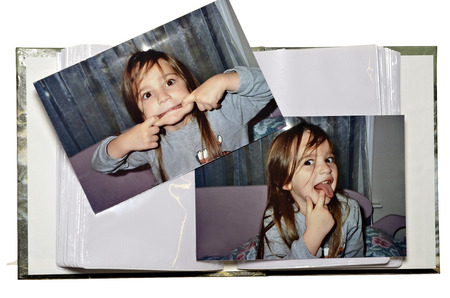 photo album: Two pictures of a girl making a funny face to put into a photo album.