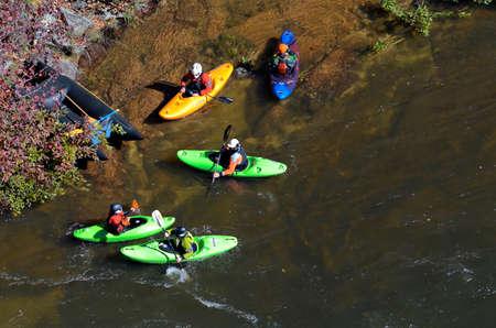 2 november: TALLULAH FALLS, GA, USA - NOVEMBER, 2- Men in kayaks ready to go into the rapids on the Tallulah River, November 2, 2014. Editorial