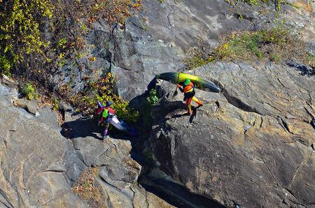 2 november: TALLULAH FALLS, GA, USA - NOVEMBER, 2- A group of people carrying their kayaks over the rocks in the Tallulah River Gorge , November 2, 2014.