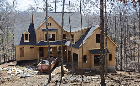 The front of a new house under construction.