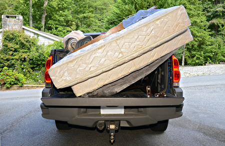on the move: A truck with bedding on the back ready to go to a new home.