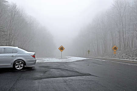 Road at Top of Mountain in Winter