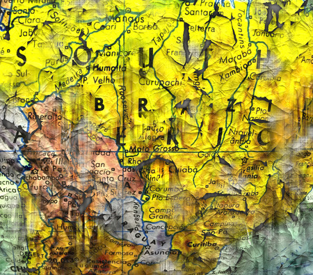 messy: A messy wrinkled map for a background or wallpaper. Stock Photo