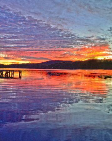 Sun Set Over a Mountain Lake