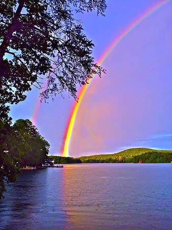 Double Rainbows over a Lake