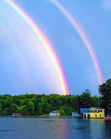 Rainbows Over a Lake