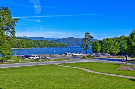 Boat ramp area on beautiful Lake Jocassee in South Carolina. The land around 7,500-acre Lake Jocassee remains mostly undeveloped and the only public access point to the lake is through Devils Fork.