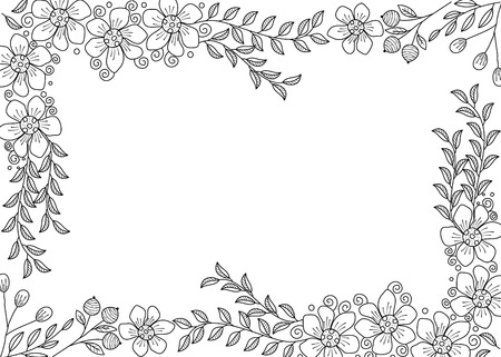 Flower frame coloring book for adult. doodle style.vector illustration. handdrawn. Ilustração