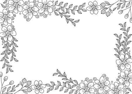 Libro de colorear de marco de flores para adulto. doodle style.vector ilustración. dibujado a mano.