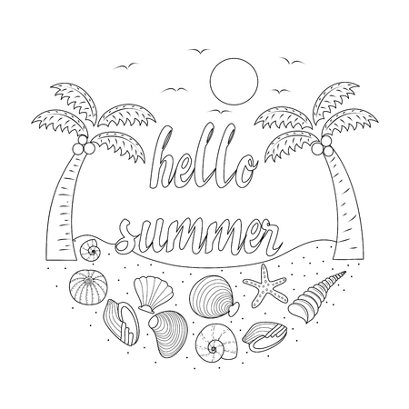 Hello summer coloring book for adult. Hand drawn. Vector illustration.Doodle style.