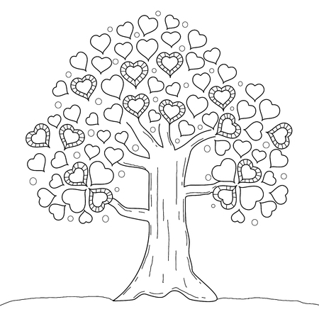 Coloring book page of tree heart. Valentine's day. Vector illustration. Hand drawn. doodle style. Vectores