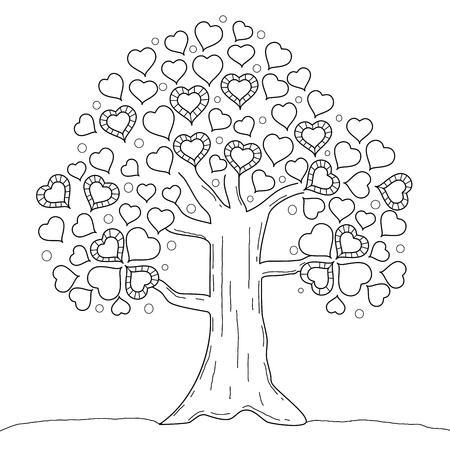 Malbuchseite des Baumherzens. Valentinstag. Vektorillustration. Handgemalt. Doodle-Stil.