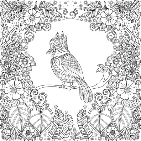 Tropical bird in jungle with flowers for adult coloring book page.vector illustration.Hand drawn.