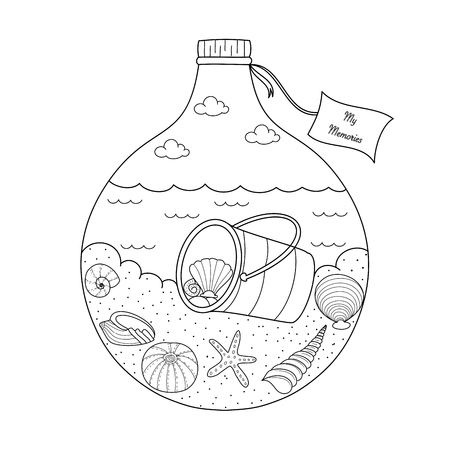 Shell and sea in bottle coloring book for adult and kid.Vector illustration. Hand drawn. Doodle style.