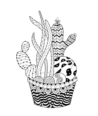 Cactus for adult and children coloring book. Illustration