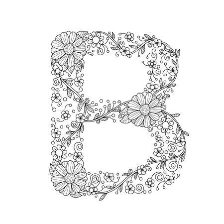 Floral alphabet letter B coloring book for adults. vector illustration.Hand drawn.Doodle style. Vectores