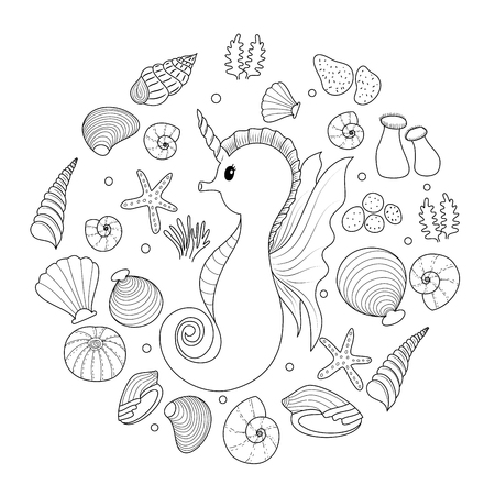 Sea horse coloring book for adult.  Doodle style.