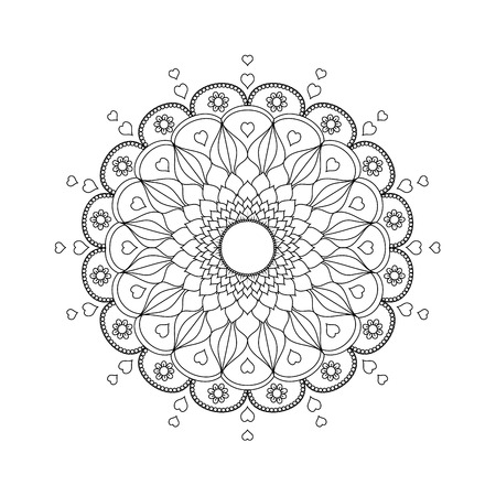 Mandala flower stylized.vector illustration.Hand drawn.coloring book page.